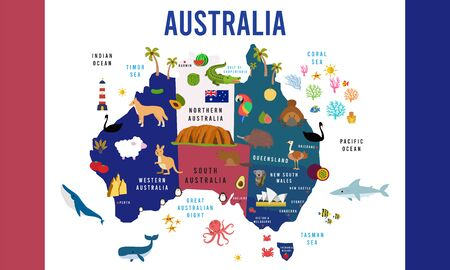 Vector Illustration of Australia map animal flat design
