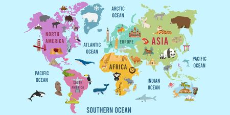 Vector Illustration of World map animal flat design