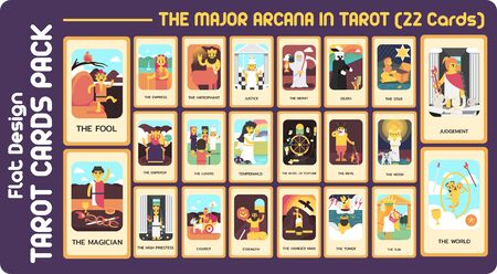 The major arcana in TAROT CARD FLAT DESIGN