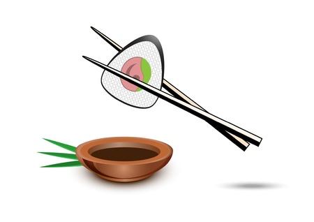chopsticks: Sushi illustration on white Illustration