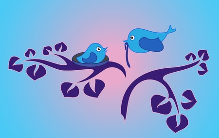 fledgeling: Stylized illustration with birds family