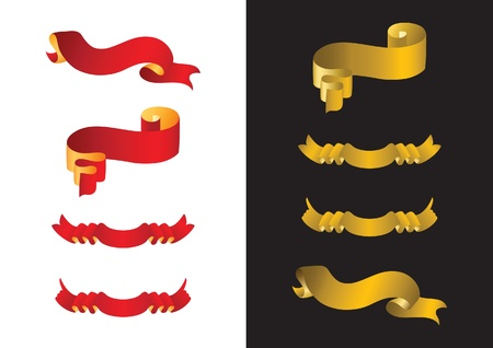 Set of red and golden ribbon banners Vector