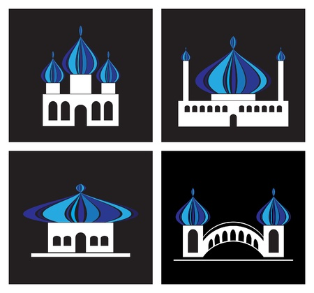 Set of abstract temple icons Vector