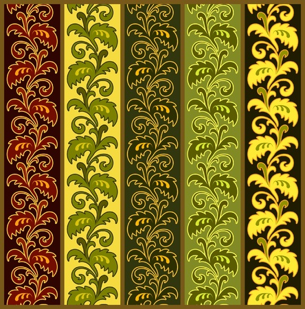 Set of seamless floral borders in various colors