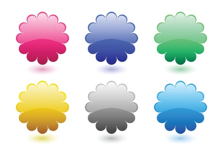 Glossy floral button set Stock Vector - 9873683