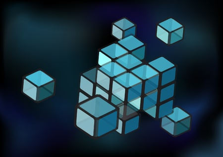 abstact: Abstact background with construction of transparent cubes. EPS10 vector format Illustration