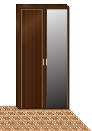 Wooden wardrobe  on checked floor. EPS10 vector format. Vector