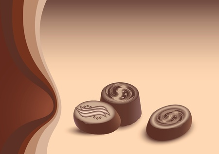 chocolate truffle: Vector background  with chocolate candies