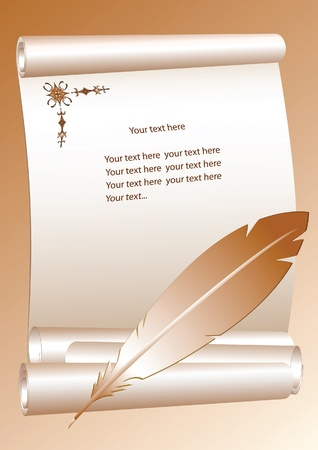 Vector illustration with scrolls and quill Vector