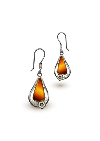 серьги: womens jewelry, earrings with amber gems isolated on white background. EPS10 vector format Иллюстрация