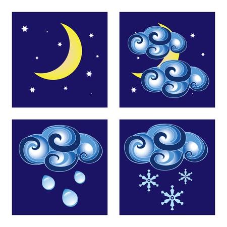 iconos del clima: Conjunto de iconos de clima de noche Vectores