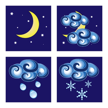 cloudiness: Set of night weather icons