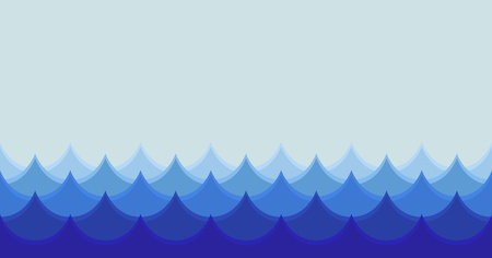 olas de mar: Ilustraci�n horizontal estilizada ola perfecta Vectores