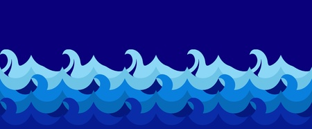 ocean storm: Horizontal seamless wave illustration Illustration
