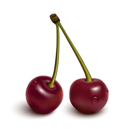 mellow: Cherries with water drops