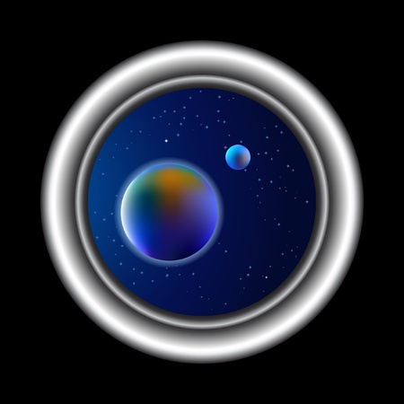 Space background, sight from porthole Vector