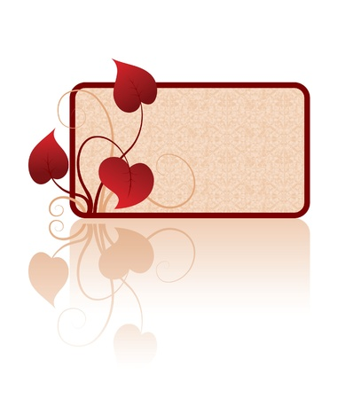 rosy: Rosy card and stylized leaves on white background
