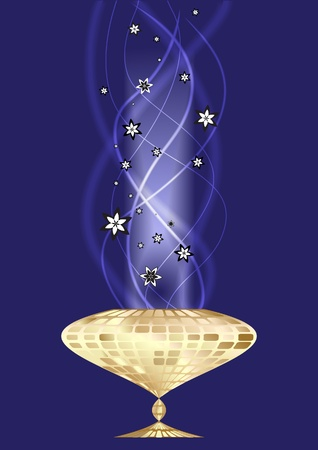 witchery: Abstract background with gold cup and smoke Illustration