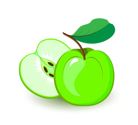 apple icon: Green apple icon. Fruits and vegetables collection