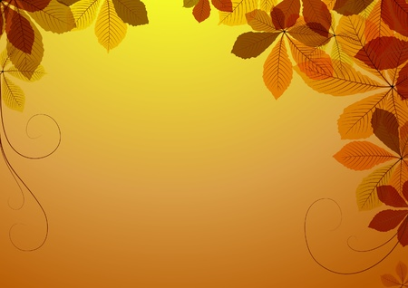 Abstract  background with autumn leaves. Space for your text Vector