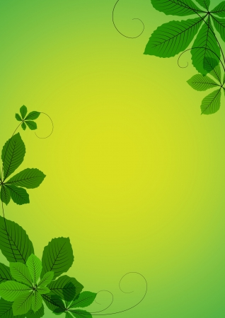 Abstract background with green chestnut leaves. Space for your text Vector