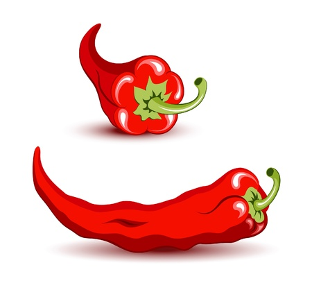 pimento: Red hot pepper icons on white background Illustration