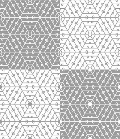 Four variants of hexagonal lace seamless pattern Vector
