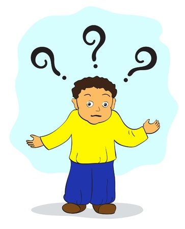 thinking student: Puzzled man, query illustration