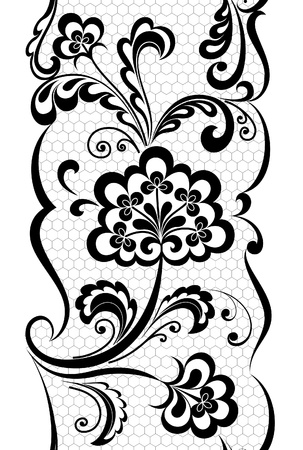 embroidery on fabric: Seamless vertical lace pattern