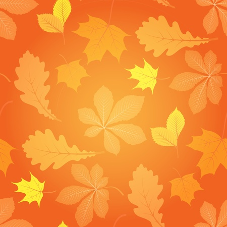 Autumn seamless pattern with fallling leaves Vector