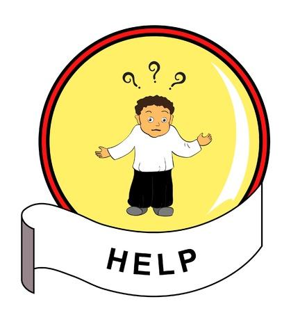 help button: Round button with perplexed man icon inside Illustration