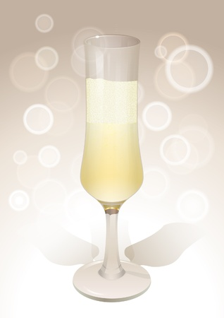 Realistic wineglass with sparkling wine Vector