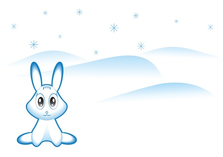 snowbank: Winter rabbit and snowbanks