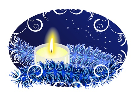New Year background with burning candle Stock Vector - 10920865