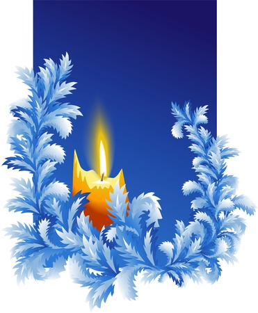 fire and ice: New Year background with burning candle and frosted twigs