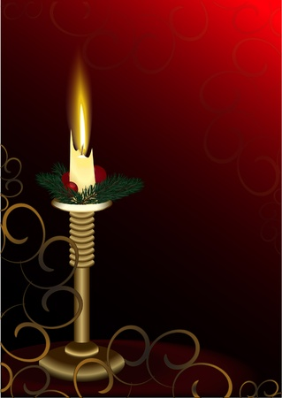 Candlestick with burning candle Stock Vector - 10920859