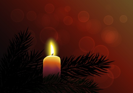 New Year background with burning candle Vector