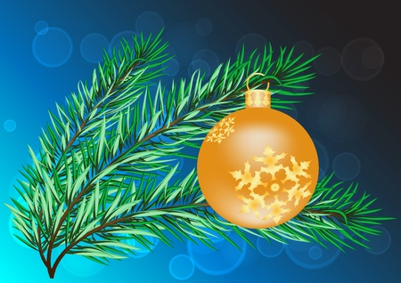 Vector new year background with twig and christmas ball Stock Vector - 10920864