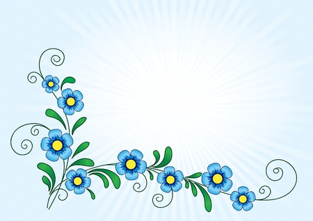 Floral background with blue stylized flowers Vector