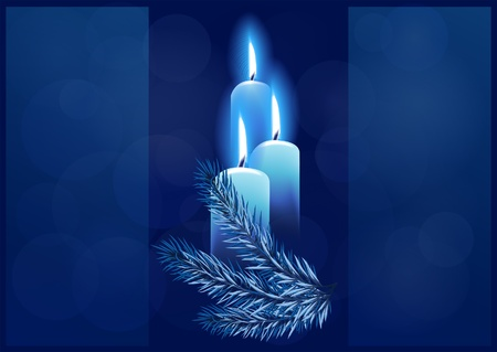 Christmas background with burning candles. Space for your text Vector