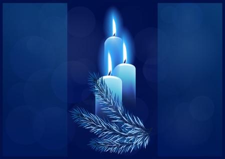 Fond de Noël avec des bougies allumées. Espace pour votre texte Vecteurs
