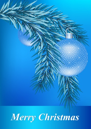Christmas background with fir and balls Stock Vector - 11101426