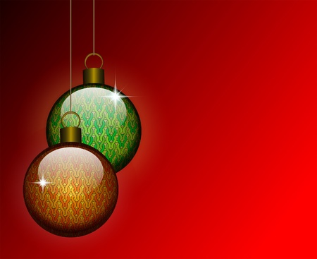 Christmas background with patterned glass balls. Space for your text Stock Vector - 11101429