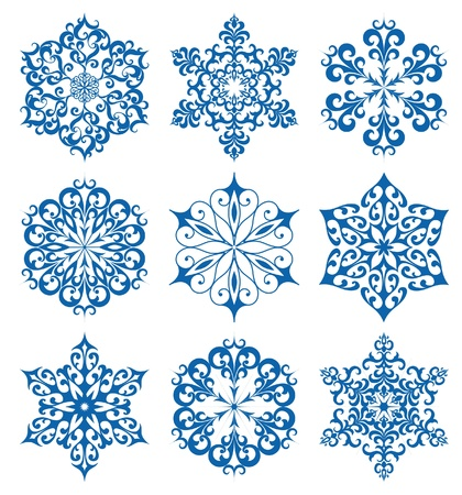 crystal snowflake: Set of snowflakes for winter design, isolated on white Illustration