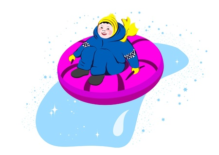ice slide: Boy sliding downhill on tube, winter  illustration Illustration