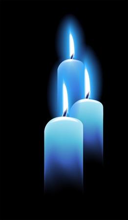 kerzen: Brennende Kerzen auf schwarzem Illustration