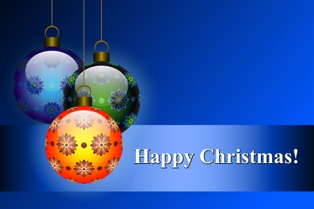 Christmas patterned balls on blue background Stock Vector - 11225893