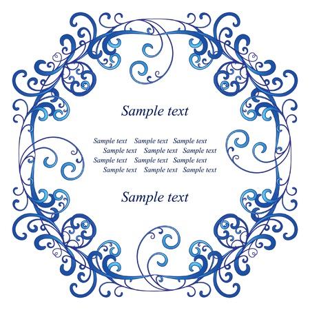 marcos decorativos: Vi�eta azul sobre fondo blanco
