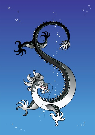 eastern zodiac: Black dragon in the sky Illustration