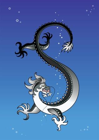 suspenso: Dragón negro en el cielo